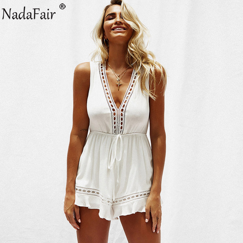 fa4c2273dd27 Detail Feedback Questions about Nadafair V Neck Sleeveless Rompers White  lace Hollow Out Chiffon Playsuits Women Summer Casual Jumpsuit on  Aliexpress.com ...