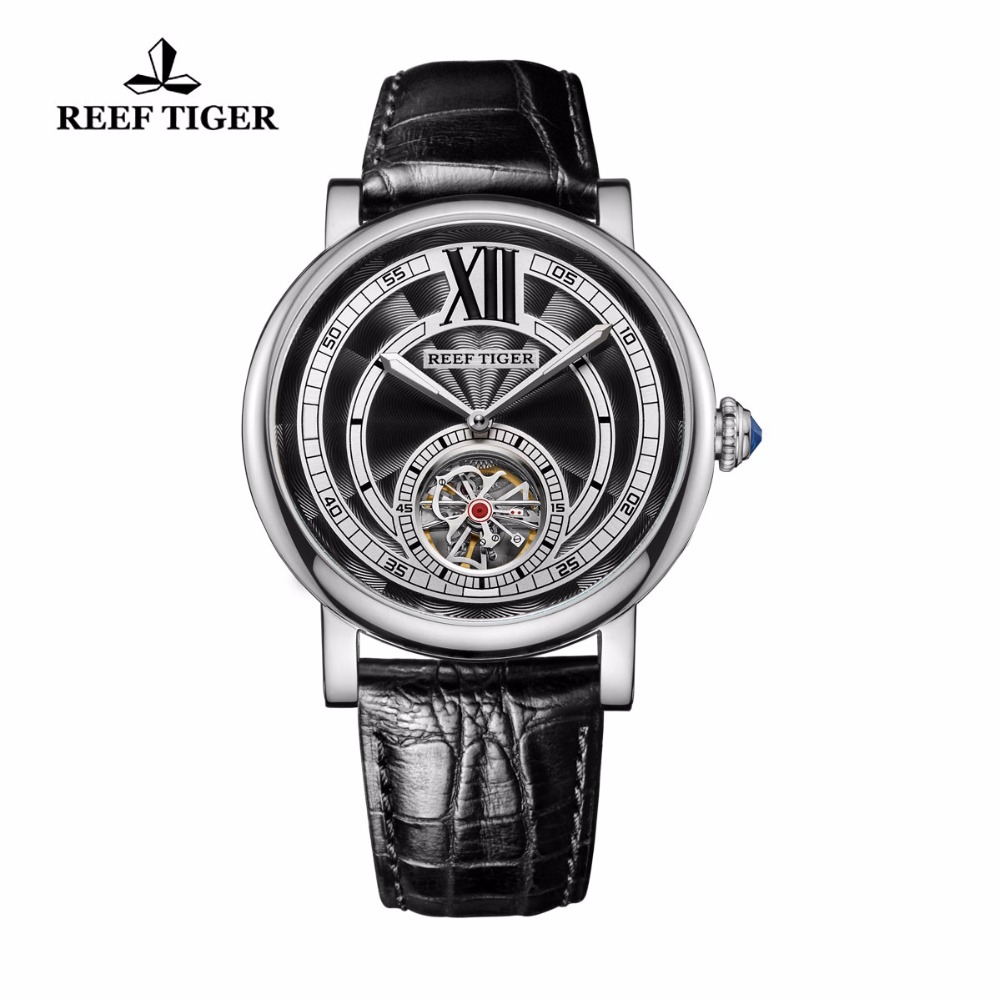 Reef Tiger RT Luxury Brand Mens Tourbillon Automatic Analog Watch Genuine Leather Strap 316L Steel Watches