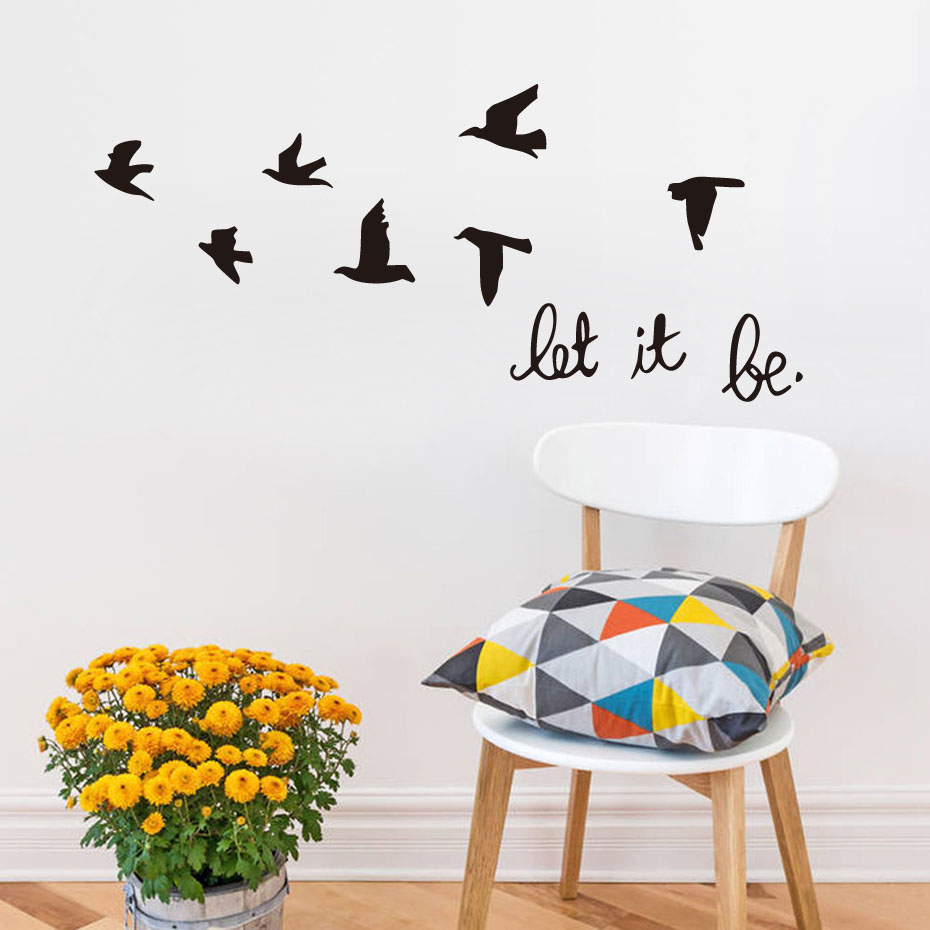 Dctop diy black flying birds vinyl wall sticker living for Bird wallpaper home decor