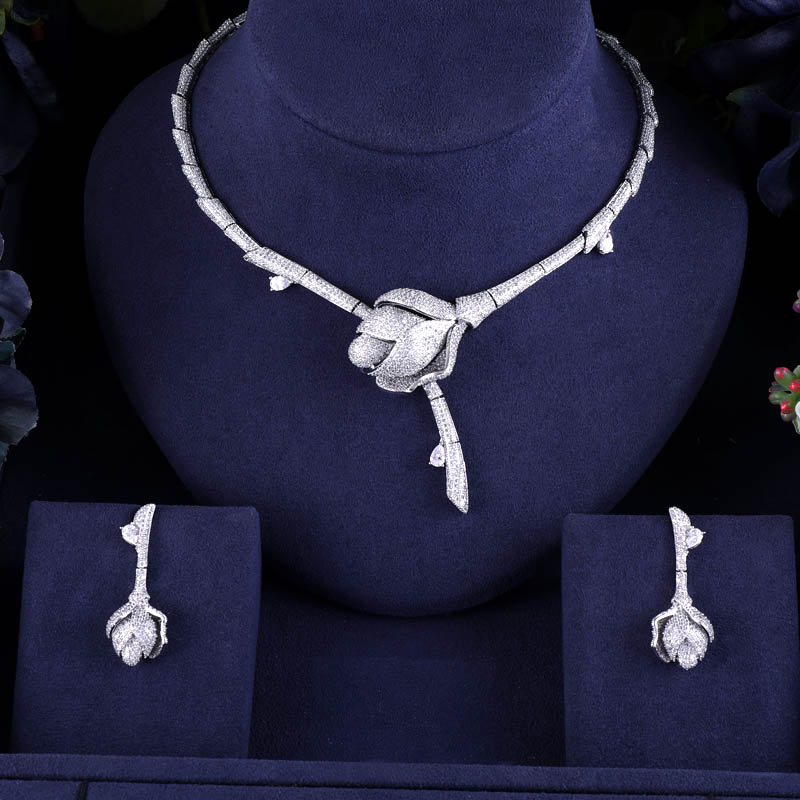 Accking Bamboo Knot Rose Flower Luxury Women Nigerian Wedding Naija Bride Cubic Zirconia Necklace Dubai 2PCS Jewelry Set