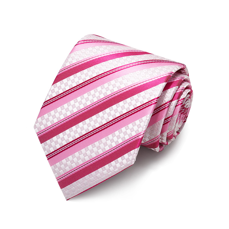New Pink Red Striped Jacquard Weave Ties for Men Business Formal 8cm Necktie Wedding Party Mens Ties Corbatas with Tie Gift Box