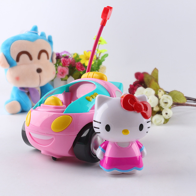 Cartoon Doraemon Hello kitty Pink pig Remote Control Electric toys car kids RC Car Cartoon musical light children Boys Girls toy