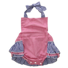 2016 Cute Newborn Kids Toddler Baby Girl Clothes Sleeveless Plaid Rufflier Bodysuit Jumpsuit Playsuit Outfits