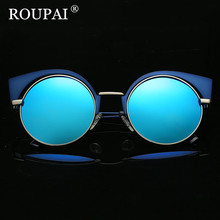 ROUPAI Brand Original Designer 2017 Popular Women Cat Eye Polarized Sunglasses Vintage Coating Mirrored Female Sun Glasses
