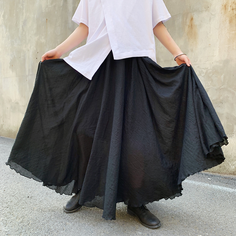 Men Japan Dark Black Loose Long Skirt Pant Male Streetwear Punk Gothic Harem Pant Lovers Clothing