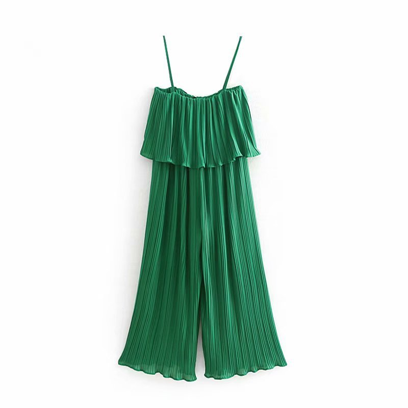 Popular new spring/summer 2019 women's clothing The European and American wind snow spins condole belt   jumpsuits   pleating CW9010