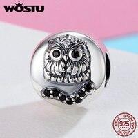 WOSTU 100 Authentic 925 Sterling Silver Black Night Owl Animal Beads Charm For Original Bracelet Women