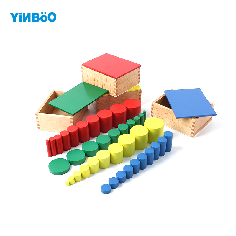 Montessori Educational Wooden Toys For Children Knobless Cylinder Montessori 4 Sets of 10 Cylinders Great Gift for Kids цена