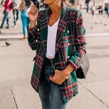NLW Vintage Plaid Blazer Women Autumn Winter Tweed Blazer Jackets 2019 Streetwear Fashion Blazer Button Long Sleeve Blazer Coat недорого