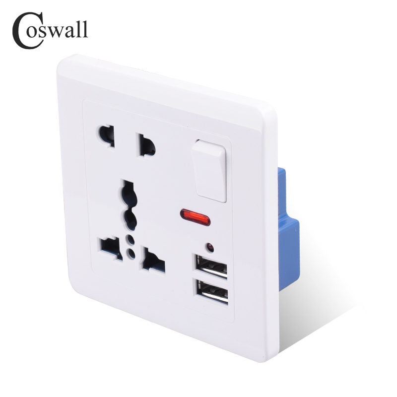 Universal Dual 2 USB Charger Port Electric Wall Power Socket Outlet