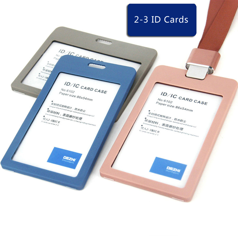 DEZHI Flip Business ID IC Card Holders For Office Staff, Eco-friendly Plastic Material Badge Holder With Original Colors Lanyard