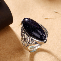 Hot Sale 100% Real 925 Sterling Silver Vintage Ring for Women Handmade Natural Stone Ring Fine Jewelry For Birthday gift AJ
