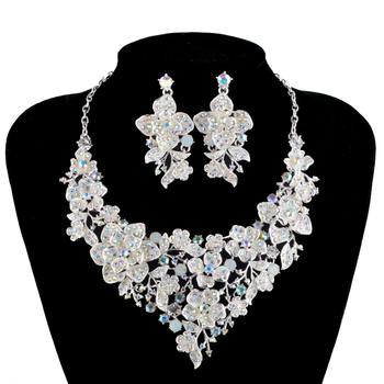 AB color Jewelry Set Silver plated Bridal Wedding Necklace with Earring Rhinestone Brides Party Jewelry Accessories