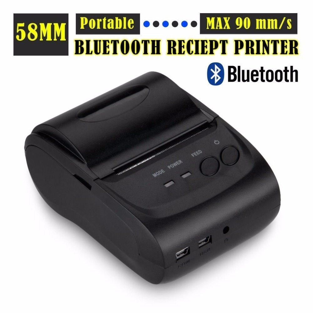 TOPS ZJ 2 Inches 58mm Mini Android Bluetooth Port Thermal Receipt Printer Mini Thermal Bluetooth Mobile Printer
