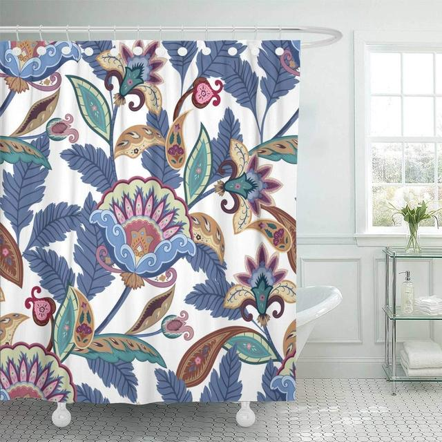 Shower Curtain With Hooks Pink Persian Flowers Paisley Pattern Floral Ornamental Bright Blue Jacobean Arabesque Bathroom