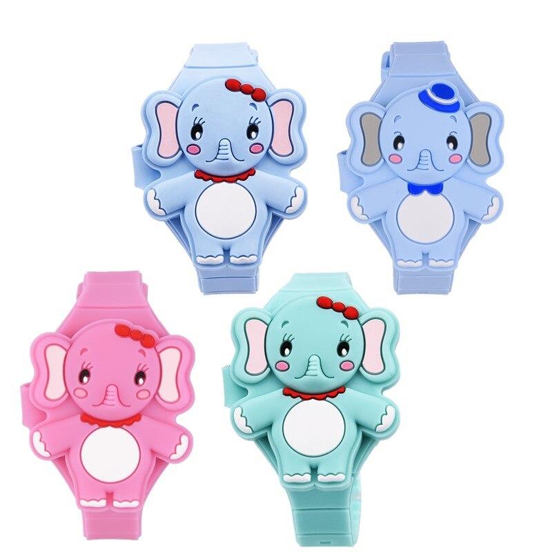 Children's Watches 3D Cartoon Pink Elephant Kids Quartz Wrist Watches For Girls Boys Baby Flip Silicone Watch Clock Kid Gifts 40