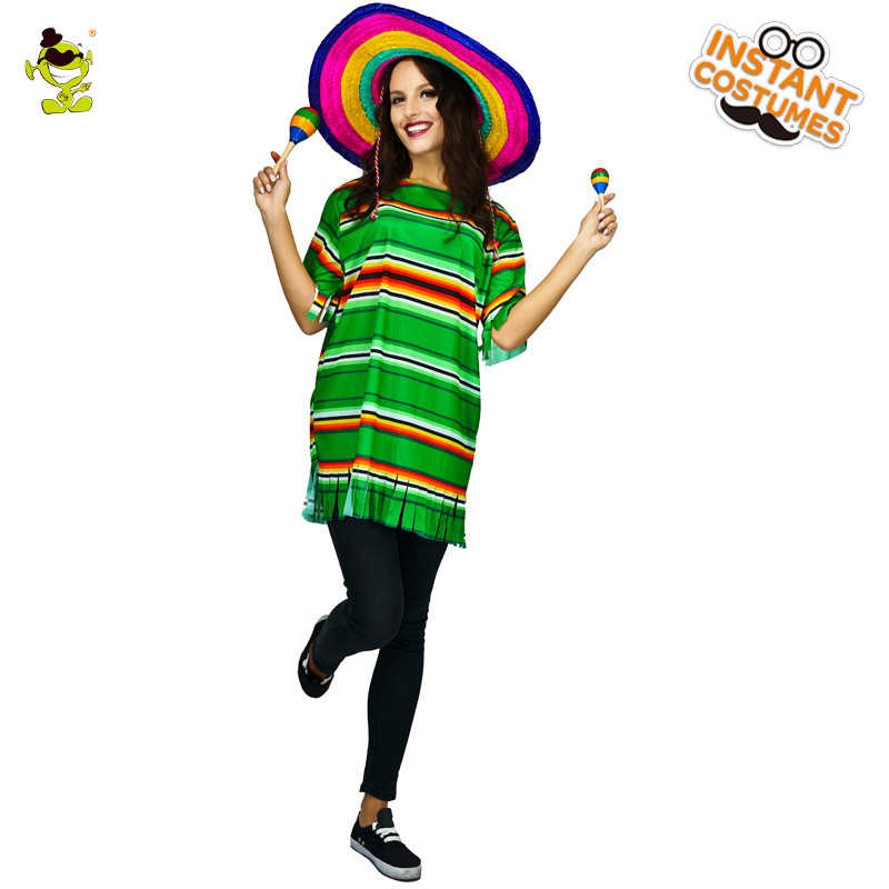 d05911a3c7 Woman Mexican Poncho Costume Carnival Party Role Playing Stripped ...