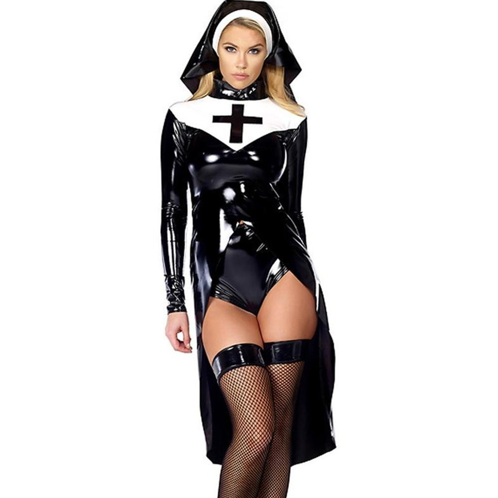 Womens Saintlike Seductress Costume <font><b>Sexy</b></font> Nun Costume Faux Leather Vinyl <font><b>Halloween</b></font> Costume Wetlook Cosplay Costume Fancy <font><b>Dress</b></font> image
