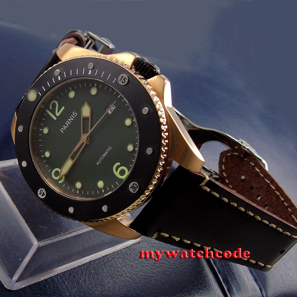 43mm Parnis green dial Sapphire Glass ceramic bezel Automatic mens Watch P69043mm Parnis green dial Sapphire Glass ceramic bezel Automatic mens Watch P690