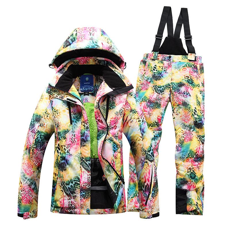 Winter Ski Jacket +Pant Windproof Waterproof Snowboard Suits Climbing Snow Skiing Clothes Skiing Suit Set Female ski jacket women ski pant windproof waterproof snowboard suits snow wear ladies ski jacket sets outdoor suits