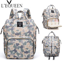 LEQUEEN Fashion Mummy Maternity Diaper Bag Backpack Camouflage Printed Travel Nappy Nursing Baby Bag Origanizer