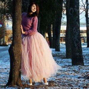 Image 2 - Вечерняя забавная Тюлевая юбка со шлейфом «сделай сам» без швов для женщин и девушек, многослойная Тюлевая Макси юбка длиной 100 см, модные женские юбки 2020