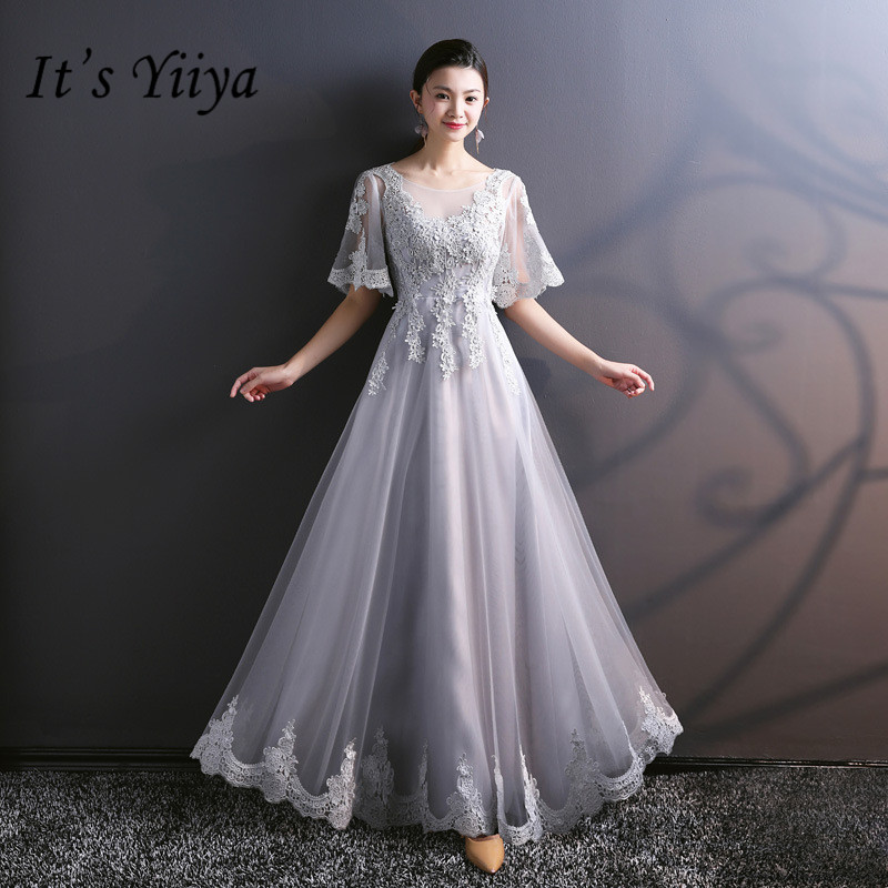 It's YiiYa Gray Lace   Bridesmaid     Dresses   Elegant Ruffles O-neck Ankle-length Slim A-line Frocks H247