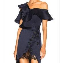 SIPAIYA 2019 ฤดูร้อนใหม่เซ็กซี่ Skew Collar เสื้อผู้หญิงพิเศษออกแบบใหม่แฟชั่น Slim Lady Party Street สวม Ruffles เสื้อ top