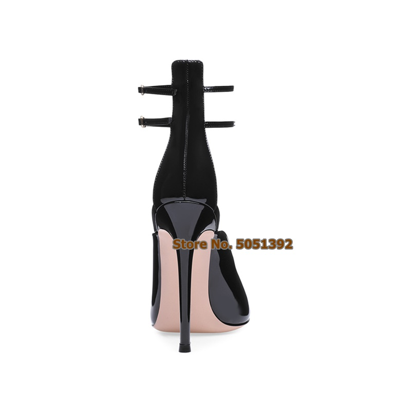 Women Sexy High Thin Heel Black Pointed Toe Patent Leather Sandals Ankle Buckle Strap Cover Heel Side Hollow Large Size Shoes in High Heels from Shoes