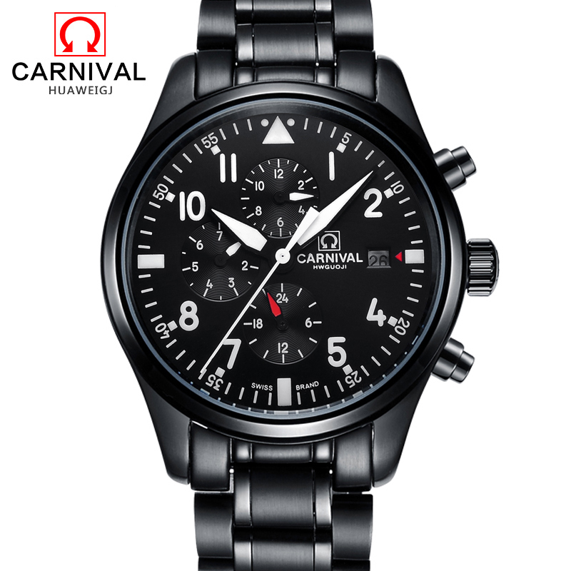 Carnival Black Automatic Watch Men Business Mechanical Watches Luminous Hands Full Steel Mens Clock 30M Waterproof kol saati yelang v1015 upgrade version khaki number tritium gas yellow luminous men automatic mechanical business watch steel watchband