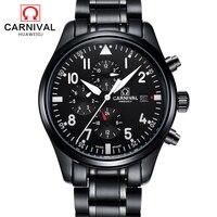 Karneval Schwarz Automatische Uhr Männer Business Mechanische Uhren Leucht Hände Voll Stahl Herren Uhr 30 M Wasserdichte kol saati