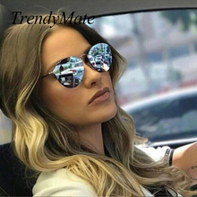 TrendyMate BRAND DESIGN Fashion Ladies Cat Eye Sunglasses Metal Legs Mirror Rimless Sun Glasses Women Shades Oculos Gafas 1332T