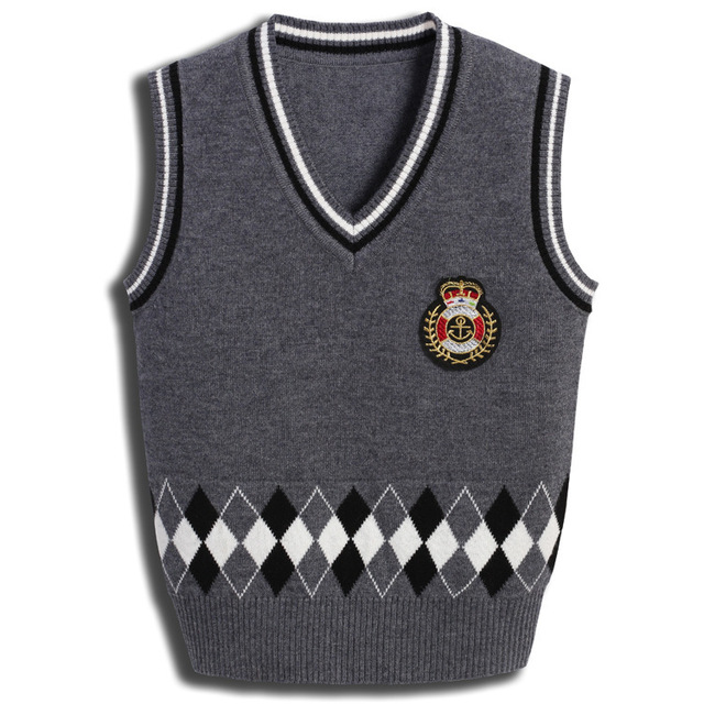 2016 Children's Garment England School Badge Christmas Kids Sweater Design Vest