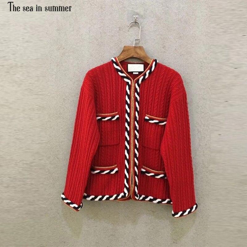2019 женский высокое качество осень зима новый теплый вязаный кашемировый шерстяной свитер красный кардиган пальто кардиган свитер маленько