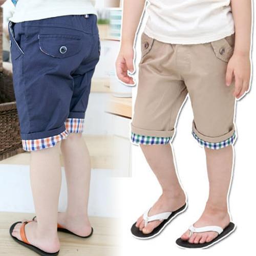 Kz-1958 2017 Summer Wear Korean New Pattern Concise Lattice Catamite Childrens Garment Baby Children In Pants 5 Part Pants Tide