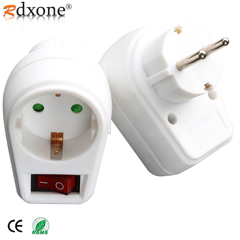 4 8 MM EU Plug European Standard Power Adapter 250V 16A Changeover Switch Adaptor Socket With ON OF