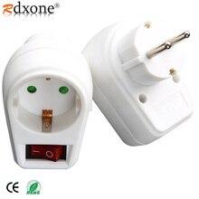 4.8mm ue plug adaptador de alimentação padrão europeu 250v 16a, interruptor de comutação adaptador soquete com on de