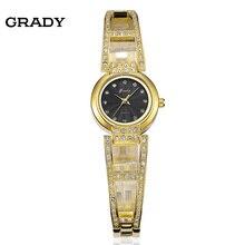 Бесплатная доставка ГРЕЙДИ женщин часы бренда дамы старинные часы 3ATM водостойкий Золотые часы
