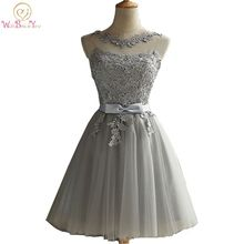 Walk Beside You Gray Cocktail Dresses Party Dress Special Occasion Lace Applique Sheer Neck Short Formal Gowns Robe De