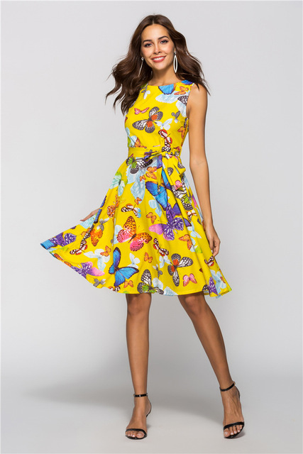 410c1e379d5f Free Shipping Summer Dress O Neck Knee Length Casual Sexy Party Dresses  Plus Size Butterfly Printed