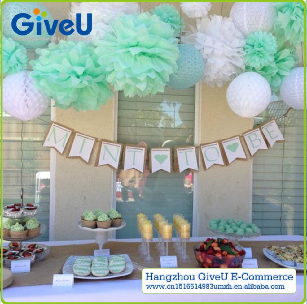 Birthday party backdrop tissue paper pom poms product on alibaba com - Gvieu Hot Products 7pcs Lot 10inch Mint Green Blue White Mix Color Tissue Paper Pom