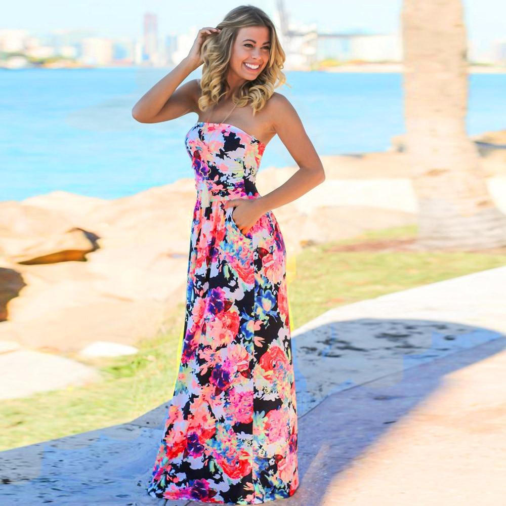 791059a00ad7b Womens Bandeau Holiday Long Dress Ladies Summer Floral Maxi Dress ladies  summer dresses casual robe fleurs dames jurkjes preppy