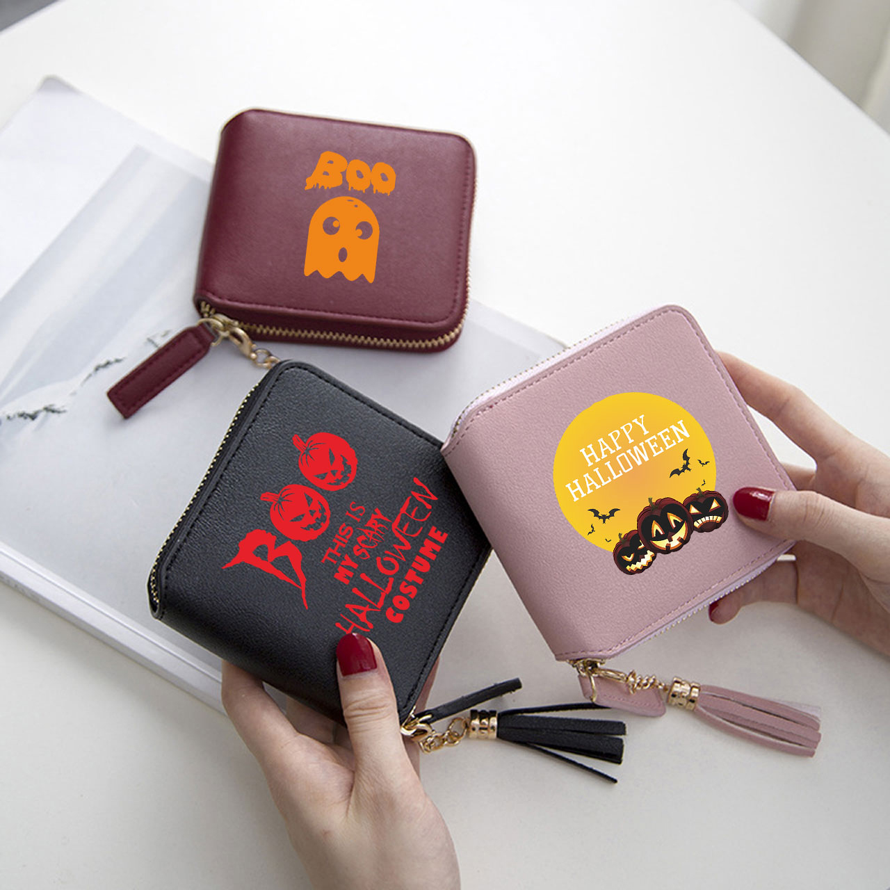 Women Wallet Purse Funny Halloween Scary Pattern Clutch Bag Leather