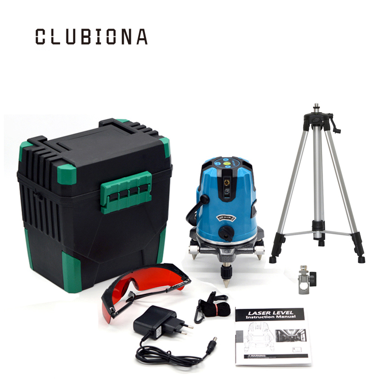EU plug tilt functional 5 cross lines 6 points self-leveling 360 degree rotary red beam cross line laser with its tripod professional 2 lines 2 points 360 rotary cross laser line leveling self leveling precision laser level kit with tripod