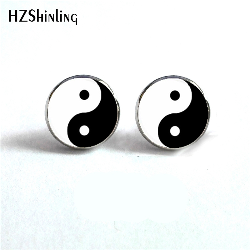 NES-00100 Yin Yang Earrings Ying Yang Ear Stud Magic Sign Zen Earrings Glass Cabochon Earrings HZ4