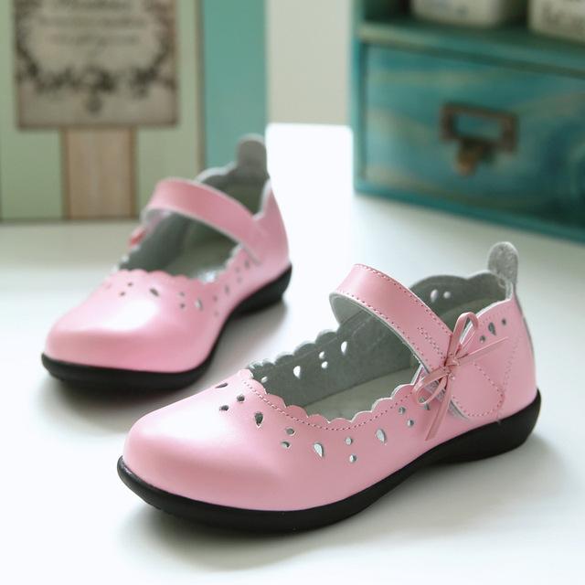 2016 outono Meninas sapatos de Couro Genuíno estudante respirável oco sapatos de dança para crianças do Sexo Feminino de couro princesa crianças sapatos 26-36