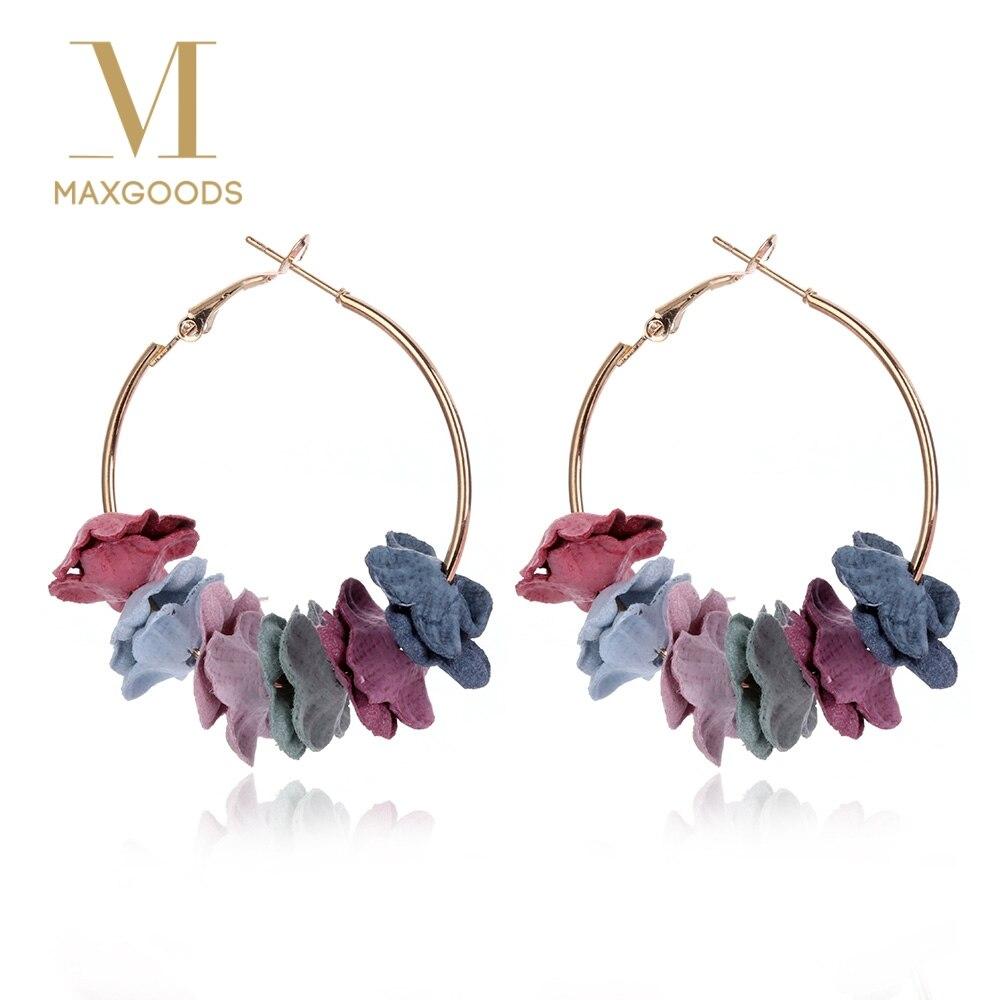 1 Pair Elegant Fabric Flower Hoop Earrings Bijoux Sweety Colorful Petal Alloy Ear Circle Big Earrings Charm Brinco Women Jewelry