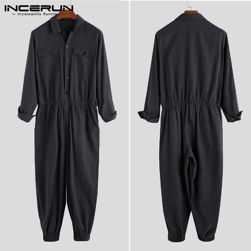INCERUN Mens <font><b>Jumpsuit</b></font> Solid Punk Style Hip-hop Lapel Pockets Long Sleeve Streetwear Rompers Men Pants Cargo Overalls <font><b>Hombre</b></font> 2019 image