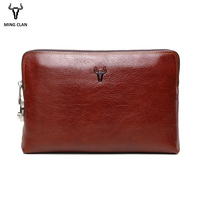 Mingclan Anti theft Code Lock Wallet Genuine Leather Men's Clutch Bags for Men Zipper Cow Leather Male Money Phone Code Purse