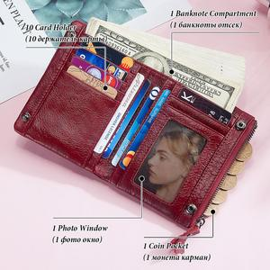 Image 5 - KAVIS Free Engraving 100% Leather Women Wallet Female and Purses Small Walet Portomonee Money Bag Zipper Card Holder for Girls